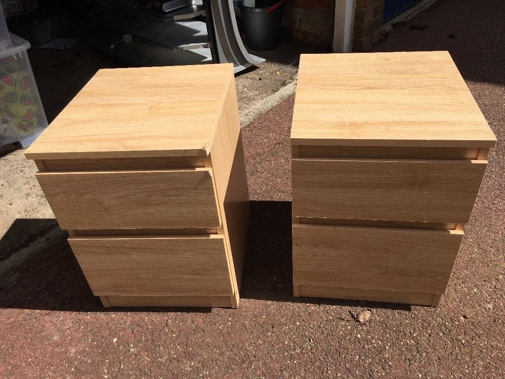 2x malm bedside tables pine