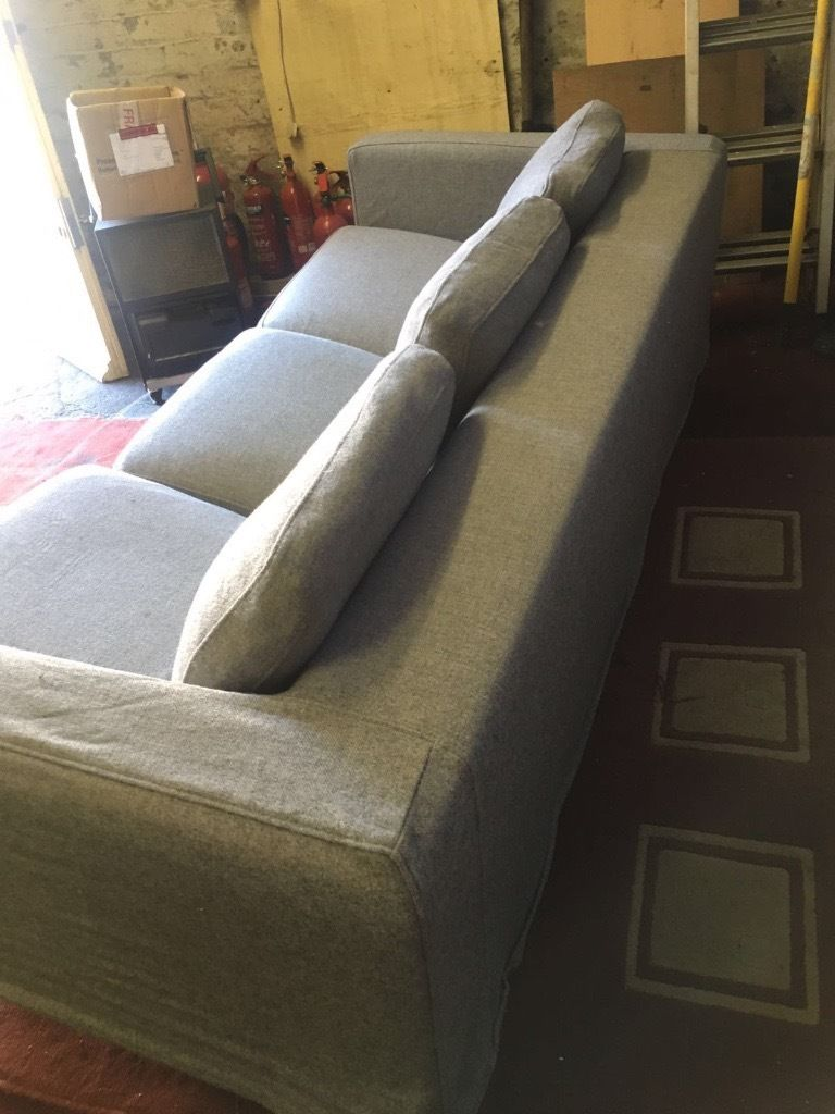 Grey 3 Seater Pull Out Sofa Bed