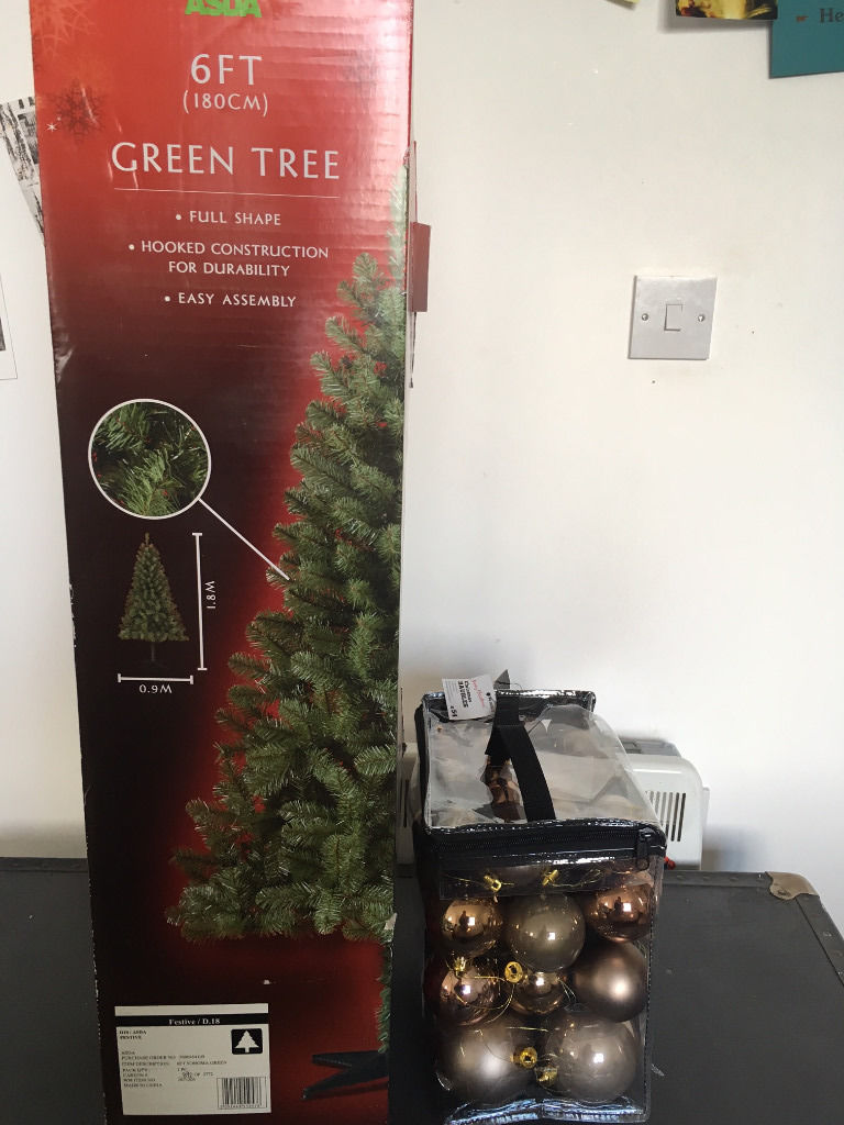 Fake 6ft Christmas Tree and set of monochrome baubles