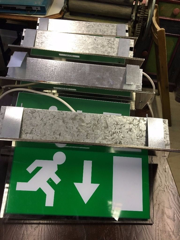 fire exit signs luminous - 3 Available - Light Up fire exit signs - All in working order - Reduced