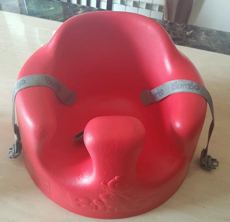 Red Bumbo chair with Harness and Tray