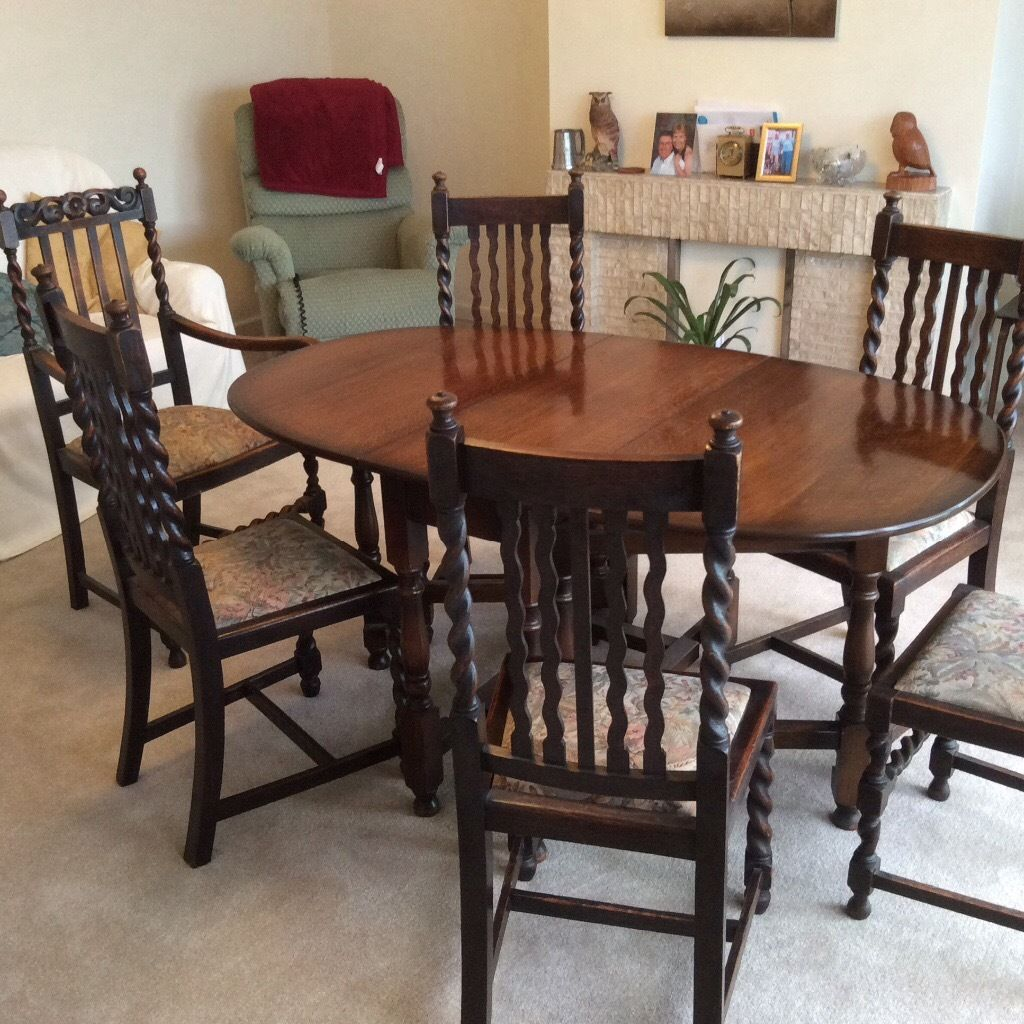 Drop leaf table and six chairs