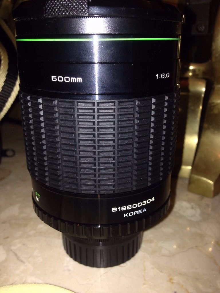 Hanimex HMC 500mm mirror lens with filters and bag SR mount