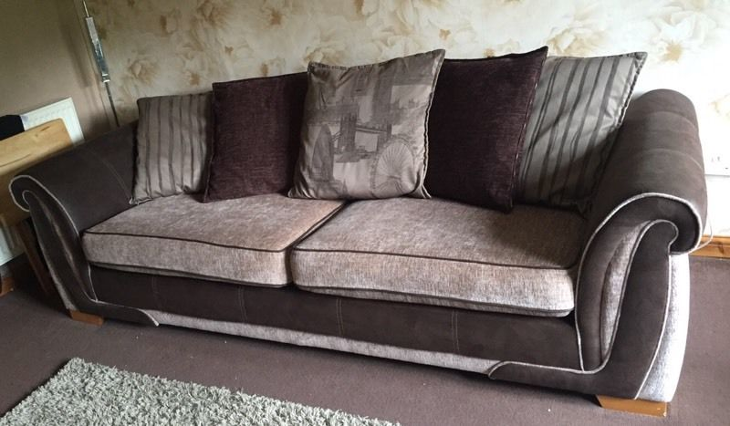 4 seater beige and brown- good condition