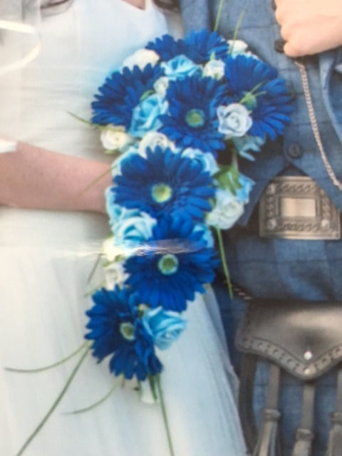 Navy, Blue and Ivory Silk Wedding Flowers - Roses and Gerbera