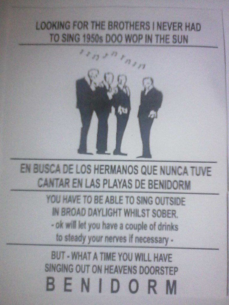 Do You Holiday in Benidorm ? Aged 21 to 70 ? And can hold a tune ?