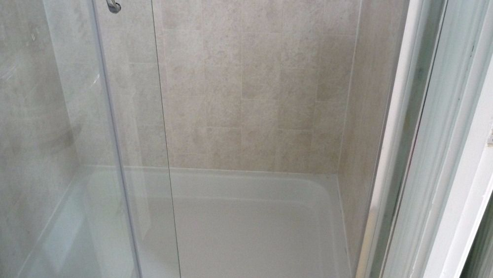 Tile effect waterproof panels (The Bathroom Marquee)