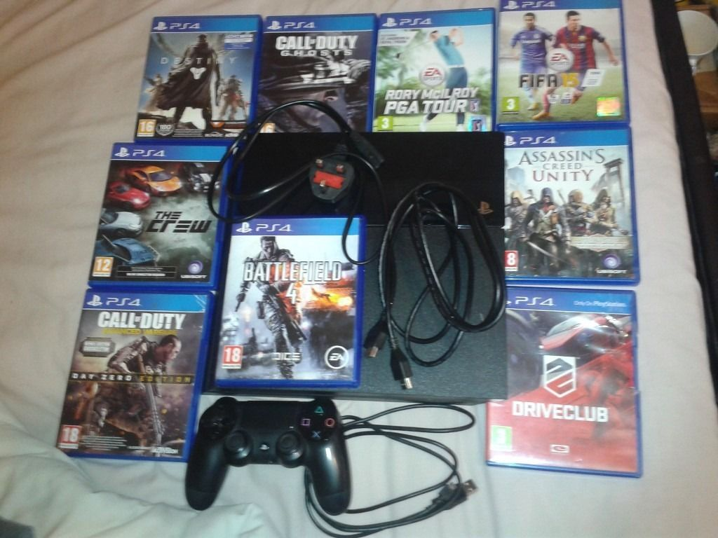 Ps4 with headset and games