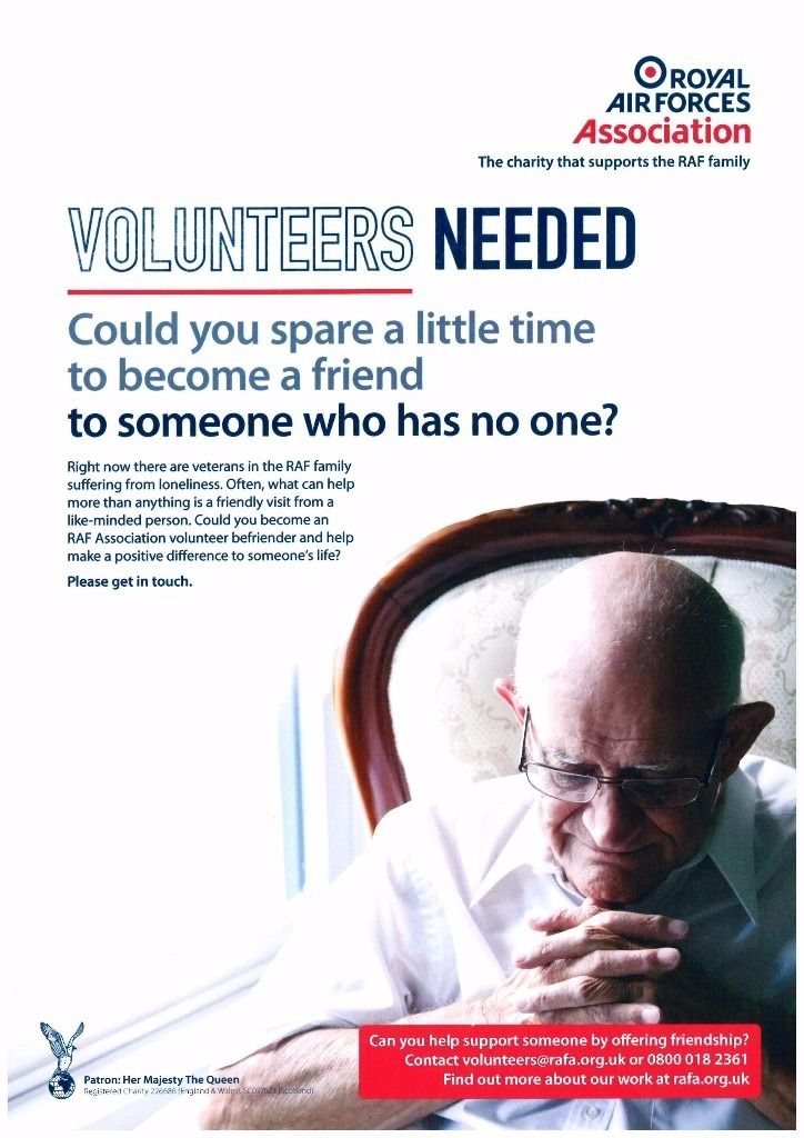 Befriender volunteers required in Aberdyfi (Aberdovey),Tywyn & Barmouth areas for RAF Association