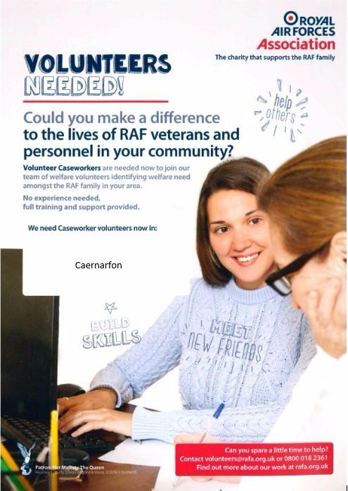 Caseworker Volunteers required in Carenarfon area of Gwynedd for the RAF Assocaiation
