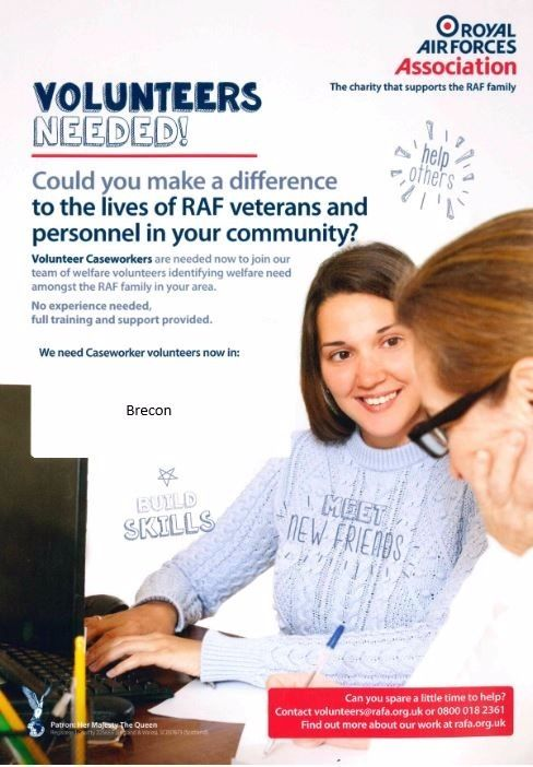 Caseworker Volunteers required in the Brecon Area for the RAF Association