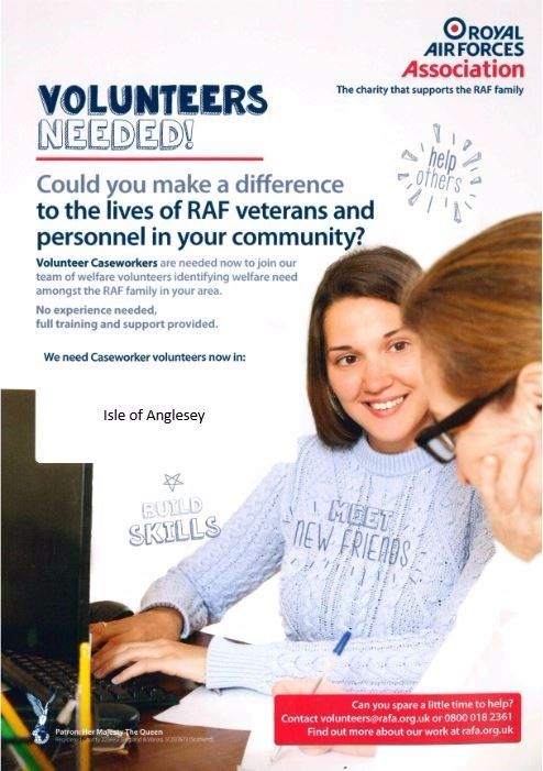 Caseworker Volunteers required for the Isle of Anglesey Area for the RAF Association