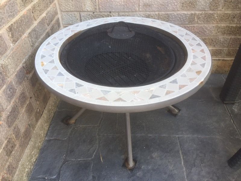 Mosaic tiles fire pit drinks table