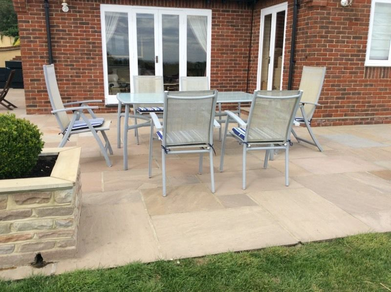 GARDEN TABLE AND CHAIRS WITH CUSHIONS