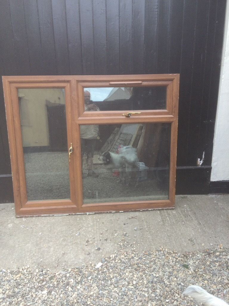 2 Light Oak Double glazed Windows. Top of the range. 1550mm x 1300 and 1500 x 900mm.
