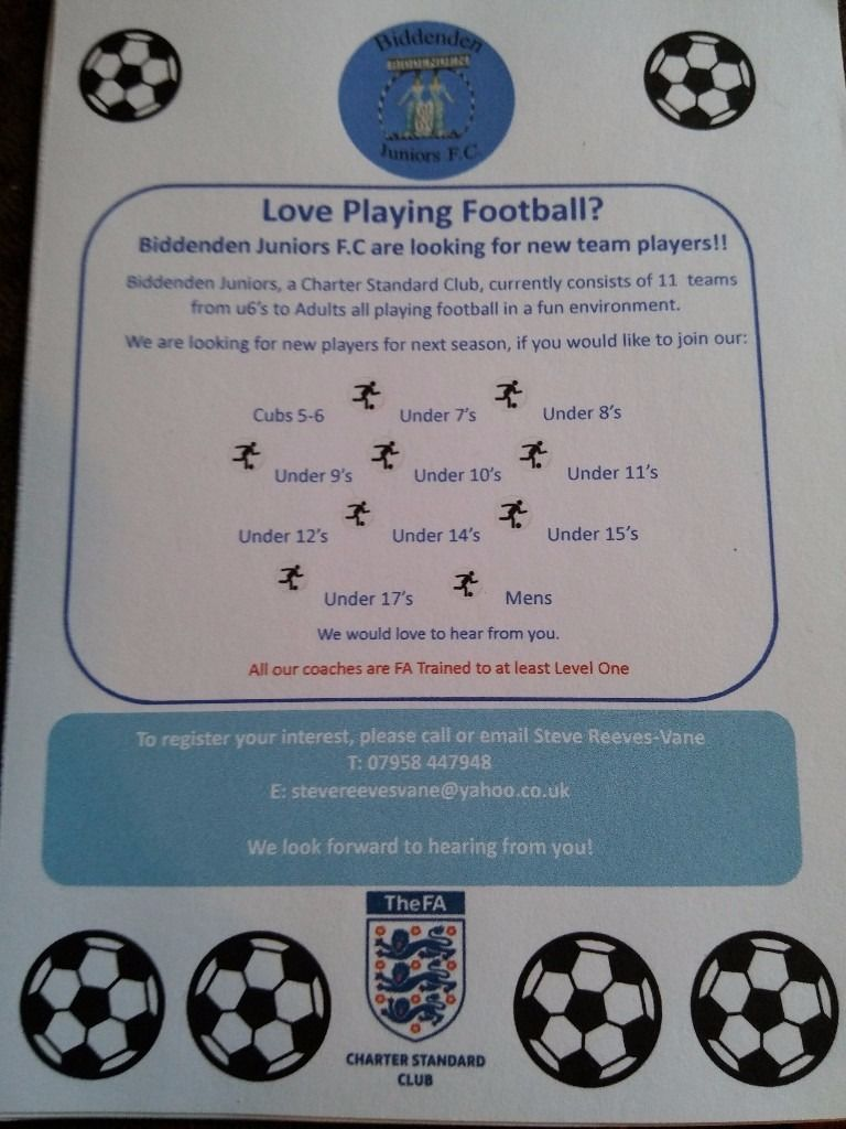 Football Players wanted for Biddenden F.C