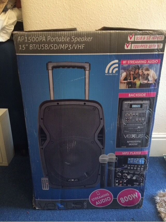 ** Brand new speaker AP1500PA portable speaker with 2x microphones**