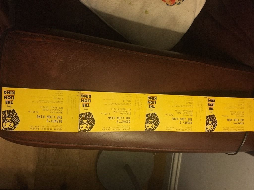 4x Lion King Tickets, Royal Circle, Matinee