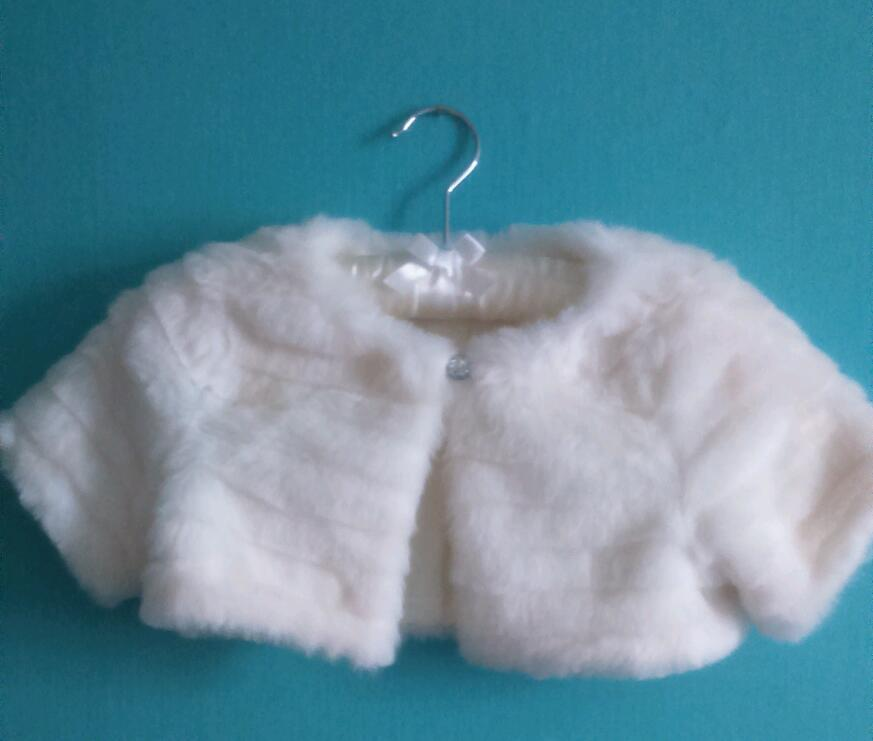 Girls ivory bridesmaid / christening dress for sale and ivory faux fur shrug for sale