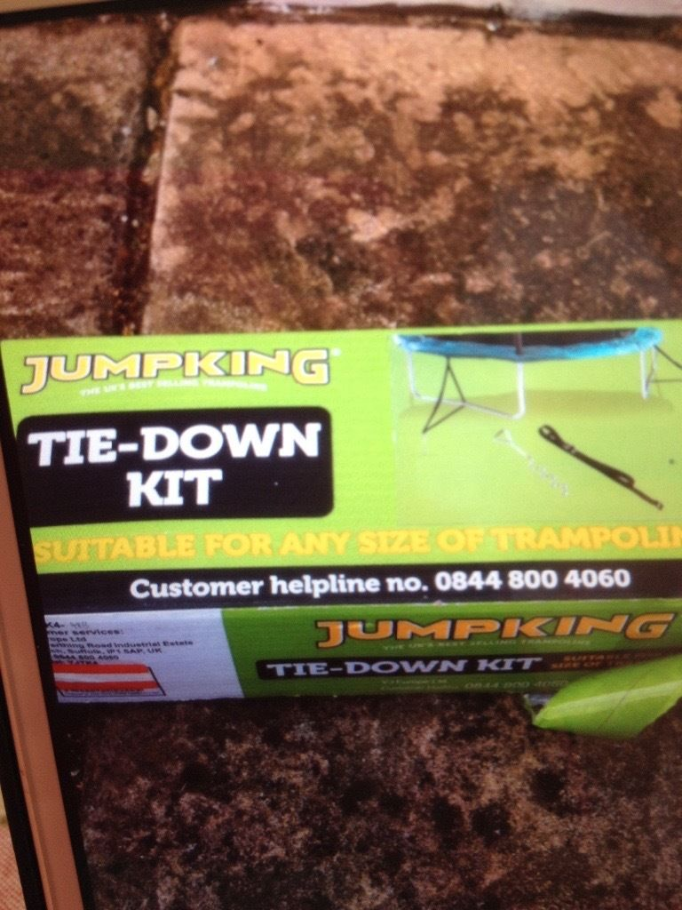 Trampoline tie down kit