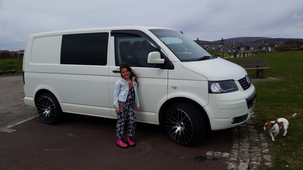 Vw transporter camper van. Rock n roll bed 20 inch alloys. Kitchen units