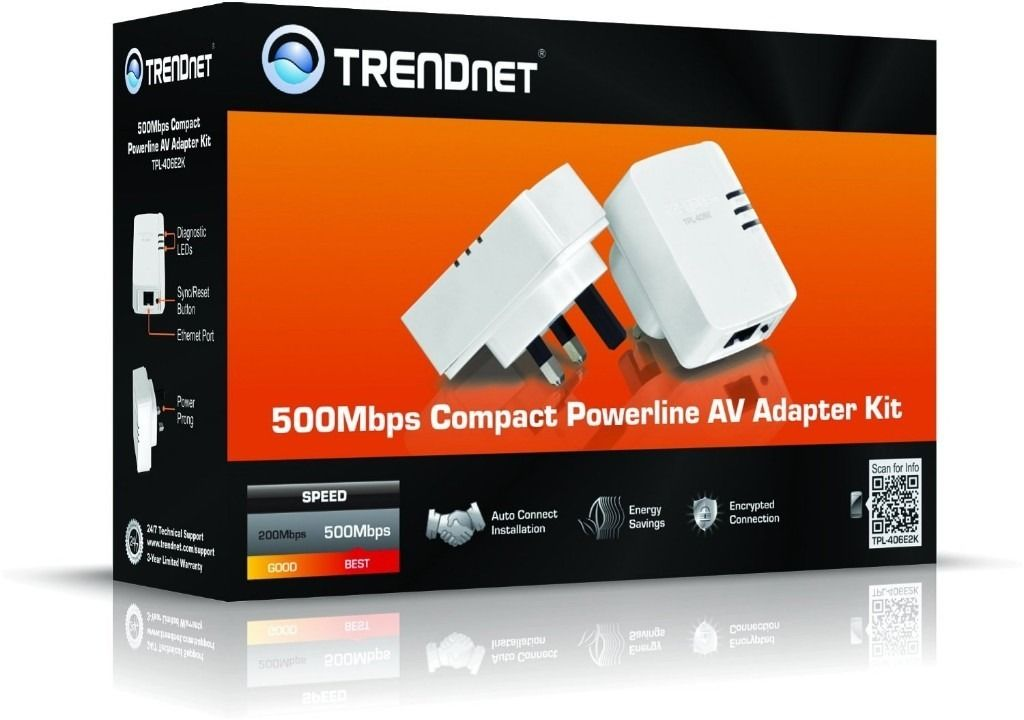 TRENDnet TPL-406E2K Powerline 500 AV Mini Network Starter Kit