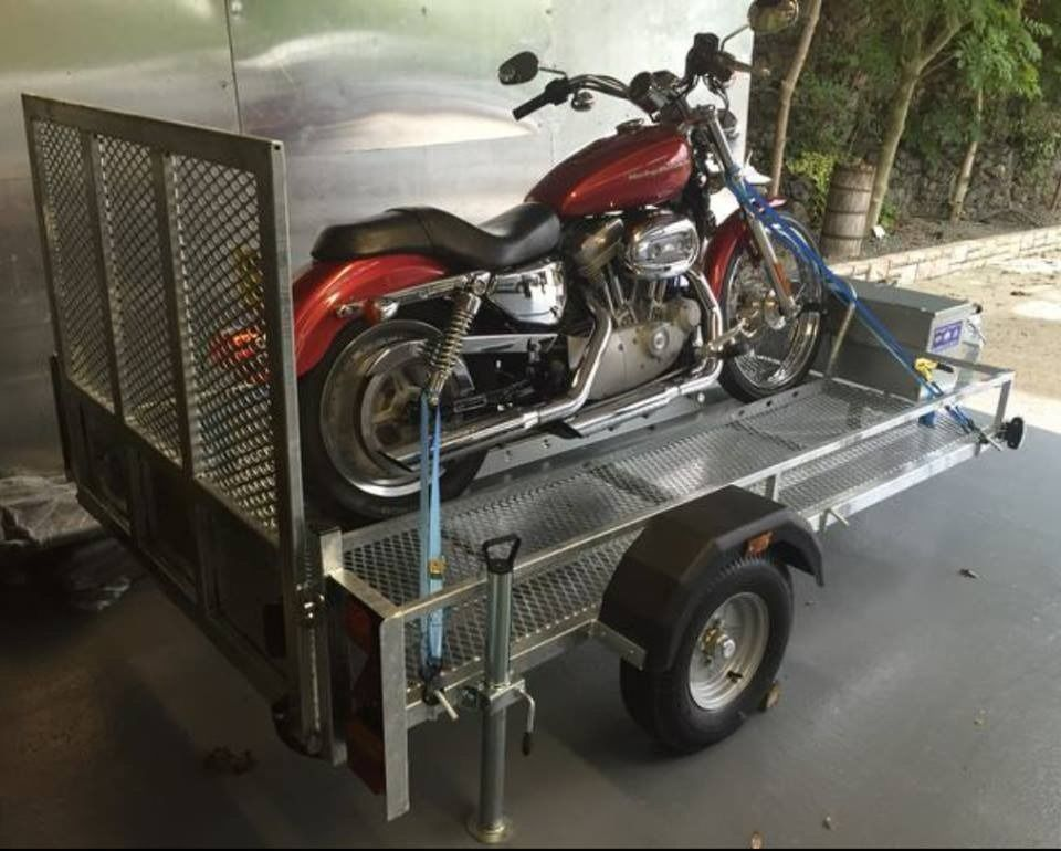 DELUXE GALVANISED TRAILER FOR MOVING LARGER MOTORBIKES - HARLEYS BMW QUAD GOLF BUGGYS RIDE-ON MOWERS