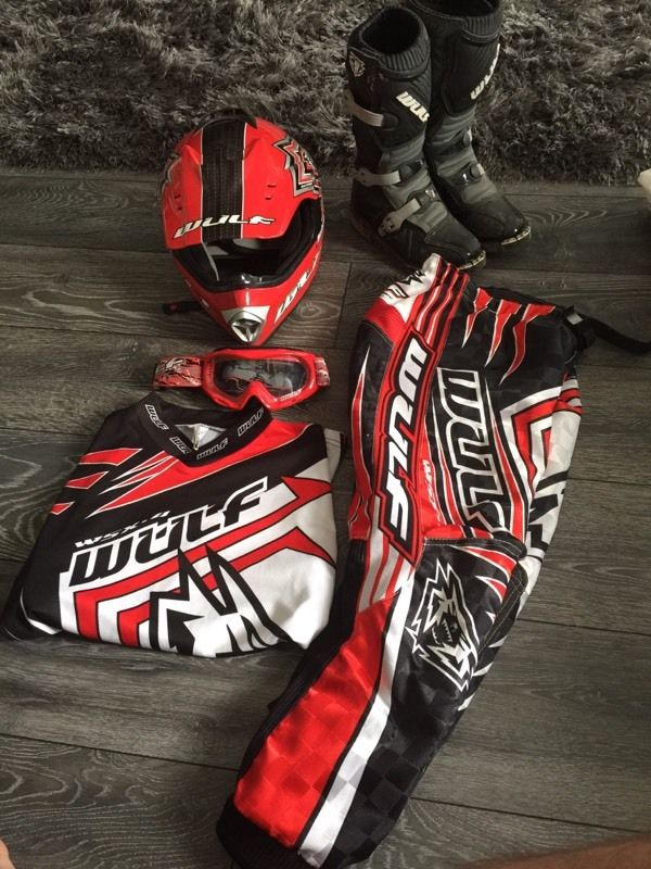 Kids wulf sport motorcross gear and boots