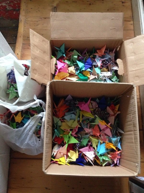 Beautiful origami cranes for wedding or party!