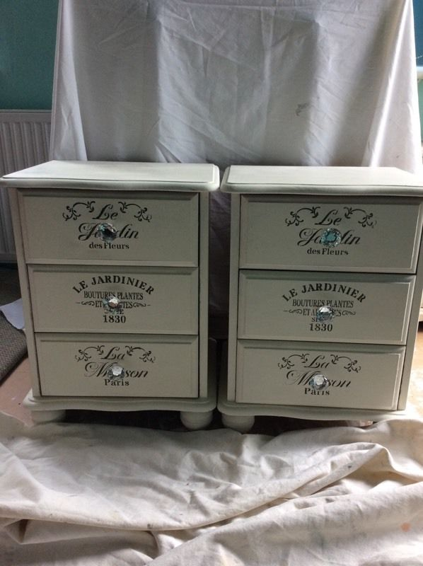 Annie Sloan white bedside units painted over pine