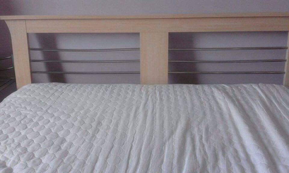 Beech and metal bed frame and mattress