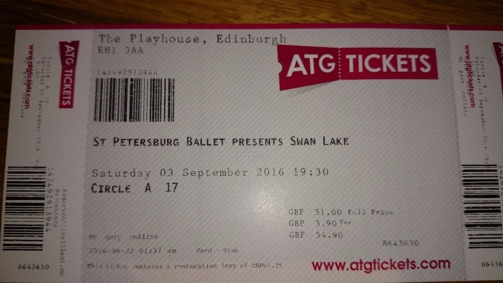 St Petersburg Ballet Swan Lake tickts. Edinburgh playhouse. 03 September 2016