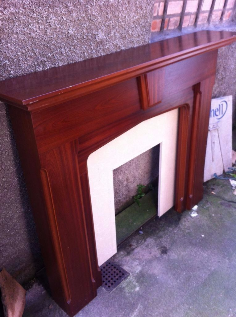 Beautiful wooden fire surround & marble back plate