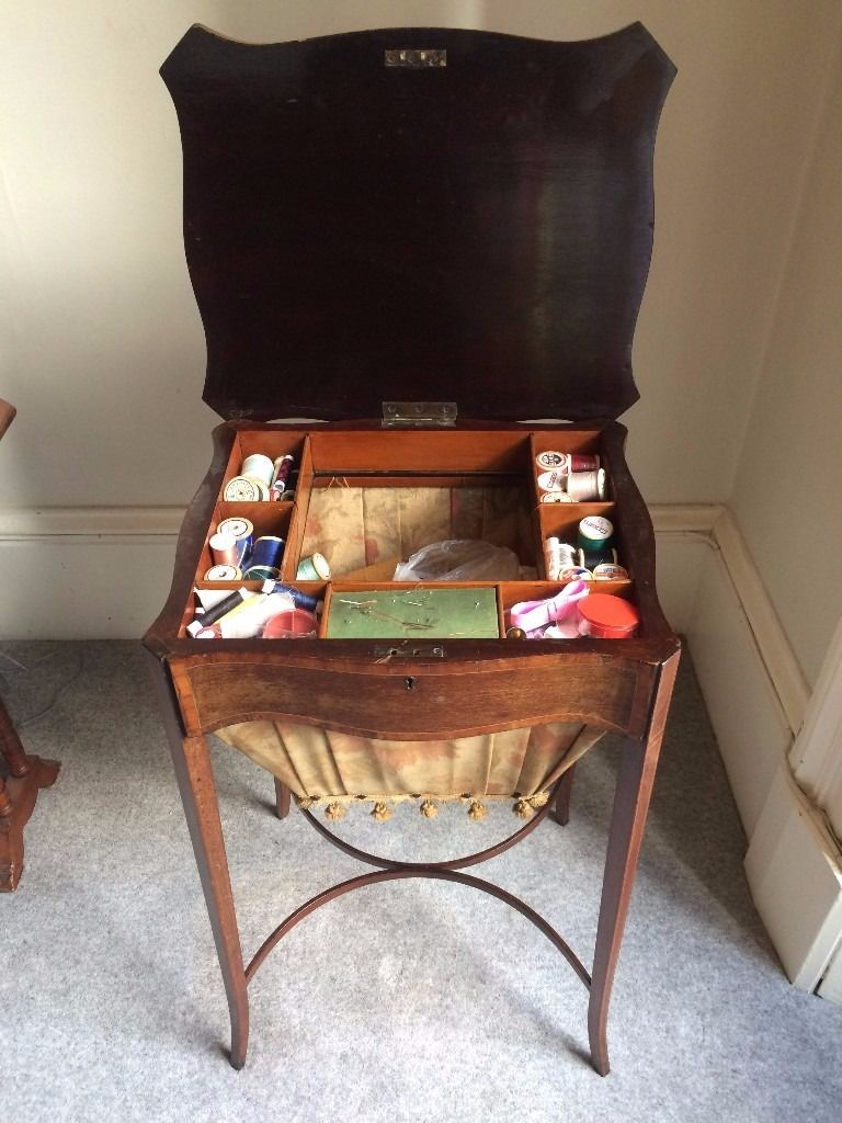 19th Century Mahogany Antique Sewing Table