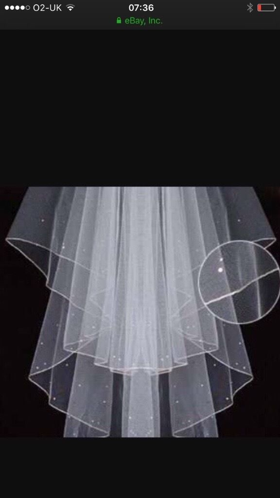 Crystal scattered elbow length white veil