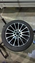 Set of 4 wolf face alloy wheels with tyres