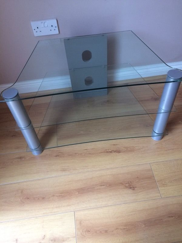 Tv stand 3 glass shelves