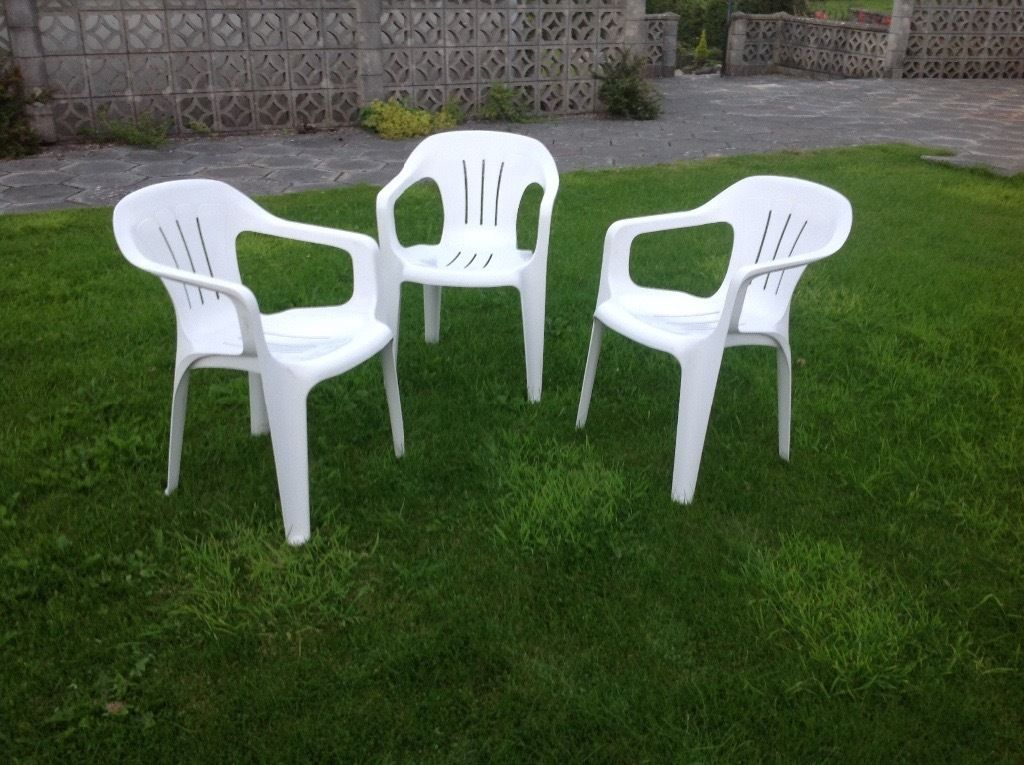 3 White Garden Chairs