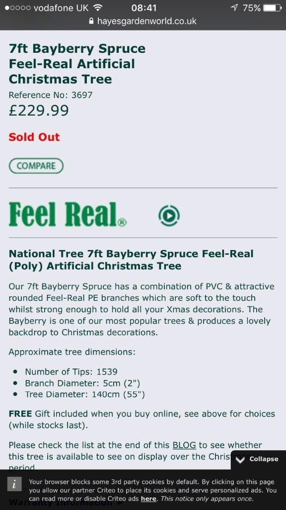 7ft Bayberry Spruce Real feel Christmas tree