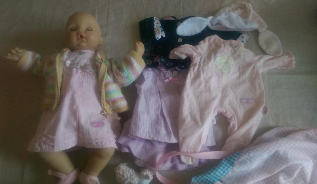 Baby Annabell Doll With Clothes & Silver Cross Highchair