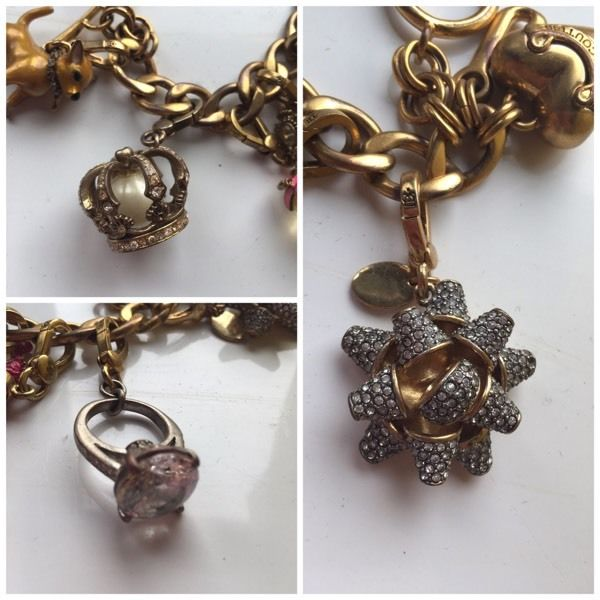 Juicy couture gold colour charms bracelet Full of charms