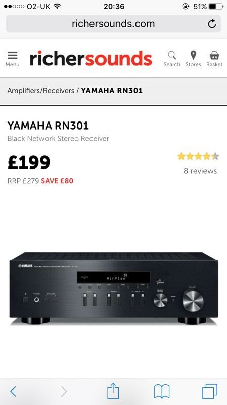 Yamaha R-N301 black network stereo receiver
