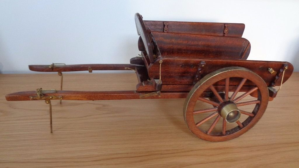 "8"" High Vintage CART. Old Handmade Wooden With Brass Trims. 20"" Long"