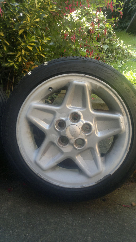 """18"""" Land Rover Mondial Alloys x4 + Near New General Tyres 225/45 R18 + Adaptors 5x112 to 5x120, 15mm"""