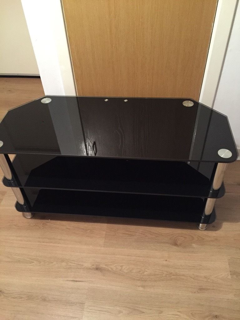 Black and silver glass TV stand with 2 shelves