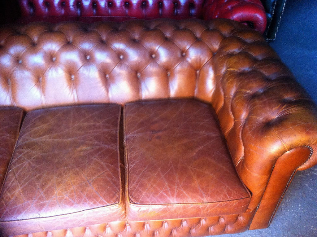 Tan Leather Chesterfield 3 Seater Sofa...vintage