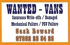 VANS WANTED FOR BREAKING - CASH REWARD!
