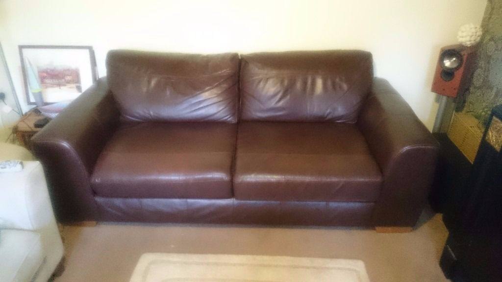 Marks & Spencer luxury chocolate brown leather sofa