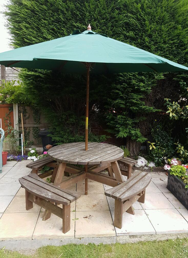 Eight Seater Bench with Table & Parasol
