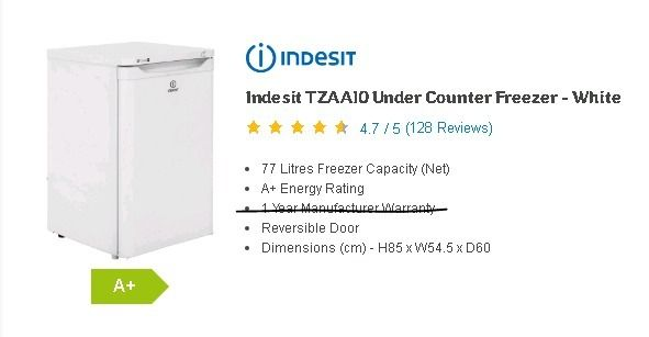 Indesit Undercounter Freezer - White